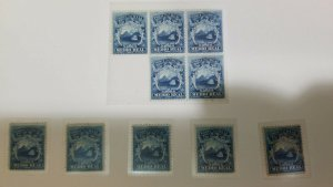 A) 1864, COSTA RICA, NATIONAL EMBLEM, DIFFERENT SHADES IN THE DARK BLUE, BLOCK O