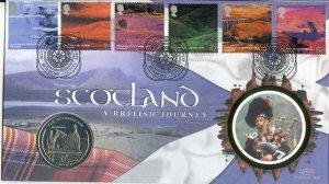 2003 Benham Scotland Cover with Gibraltar 1 Crown Coin