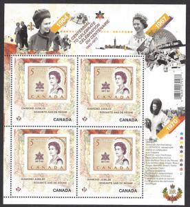 Canada #2514i MNH ss, Queen Elizabeth II diamond jubilee, issued 2012