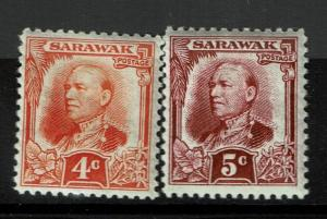 Sarawak SG# 94 and 95, Mint Hinged, Hinge Remnant, some curling - S991