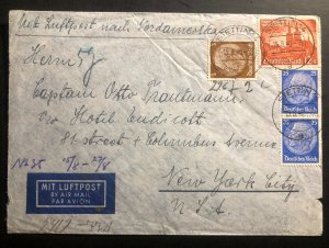 1940 Stettin Germany Airmail Censored cover To New York Usa