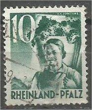 RHINE PALATINATE, 1949, used 10pf, Girl Scott 6N34