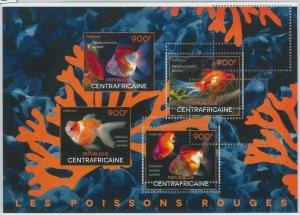 862  - CENTRAL AFRICAN R. - ERROR - MISSPERF stamp sheet 2014 Gold Fish