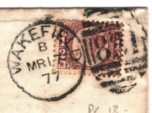 GB HALFPENNY p13 Cover Illustrated Contents Yorks Wakefield ½d Red 1877 15.4