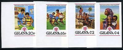 GHANA SCOTT# 719-22 PAPAL VISIT OVPT IMPERF SET MNH