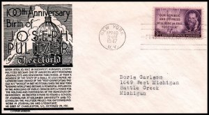 US 946 Pulitzer C Anderson Black Typed FDC