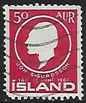Iceland # 335 - Jon Sigurdsson - used....{GBl)