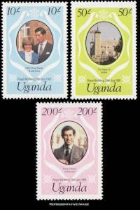 Uganda Scott 314-316 Mint never hinged.