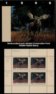 NEWFOUNDLAND #3M 1996 MOOSE CONSERVATION STAMP MINI SHEET OF 4 IN FOLDER