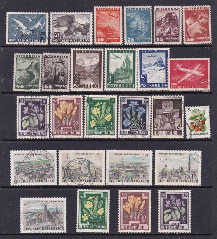 Austria small used lot of Air & commems 1950'S-60'S