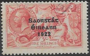 IRELAND SG65 1922 5/= ROSE-CARMINE SEAHORSE USED