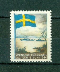Sweden Poster Stamp Mnh.1944. National Day June 6. Swedish Flag. Navy Ships