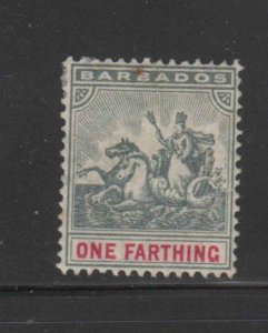BARBADOS #90  1904  1f   BADGE OF THE COLONY  MINT  F-VF  LH  O.G  aa