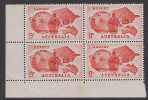 Australia 1963 Export Sc#356 Corner Block of 4 Mint Hinged on 2 stamps
