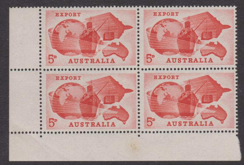 Australia 1963 Export Sc#356 Corner Block of 4 Mint Hinged on 2 stamps