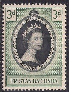Tristan Da Cunha 1953 QE2 3d Coronation MM SG 13 ( J1154 )