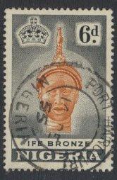 Nigeria  SG 75 SC# 86 Used  QEII 1953  Olokun Head IFE Bronze - shade  see scan
