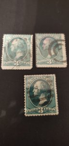 US #207 Lot of 3 Used Fancy Cancels