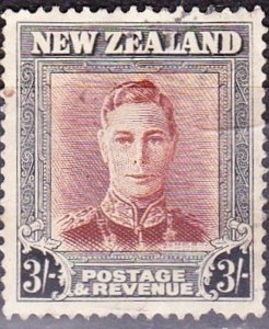 NEW ZEALAND 1947 KGVI 3/- Red-Brown & Grey SG689 FU