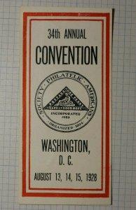 SPA Convention Washington DC 1928 Philatelic Souvenir Ad Label