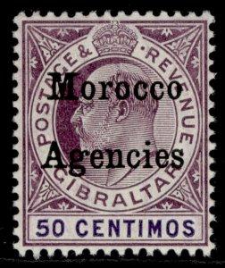MOROCCO AGENCIES EDVII SG28, 50c purple/violet, LH MINT. Cat £11. WMK MULT CROWN