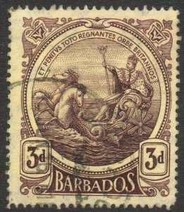 BARBADOS-1916-19 3d Purple/Yellow Sg 186 FINE USED V46260
