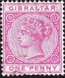 GIBRALTAR 1887 QV 1d Rose SG9 Used