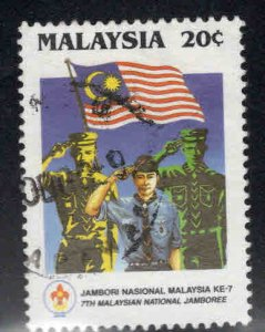 Malaysia Scott 395 Used Scout stamp with flag