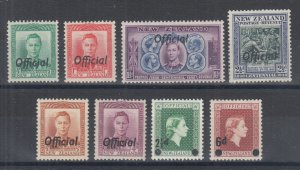 New Zealand Sc O72/O108 MLH. 1938-59 Officials, 8 different better singles, F-VF