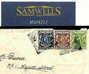 British East Africa KENYA Mombasa Cover 1890 3-COLOUR FRANKING {samwells}MS4211