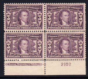 US #325 VF/XF NH Plate block of 4