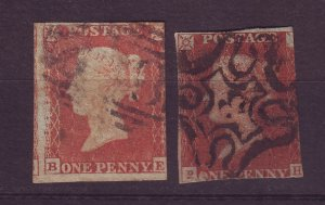 J24558 JLstamps 2 very old great britain used queen stamps