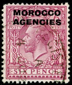 MOROCCO AGENCIES SG60, 6d reddish purple, USED. WMK BLOCK
