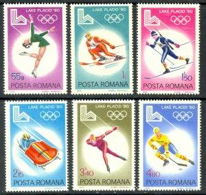 ROMANIA 1979 LAKE PLACID Winter Olympics Set Sc 2926-2931 MNH