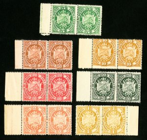 Bolivia Stamps # 40-6 F-VF Set of Perforated Proof Pairs