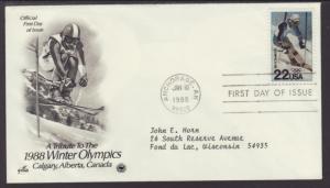 US Winter Olympics 1988 PCS Typed FDC BIN