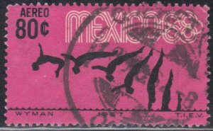 MEXICO  SC# C328 **USED** 80c  1967  DIVING    SEE SCAN