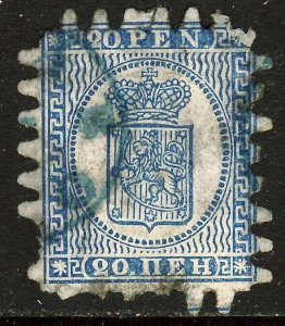 FINLAND 1866 20p Pale Blue on Blue Wove Paper Roulette 8 Type iii SG 37 VFU