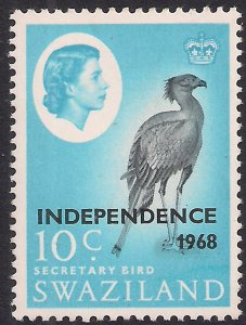 Swaziland 1968 QE2 10ct Secretary Bird Independence Ovpt Umm SG 151 ( L1319 )