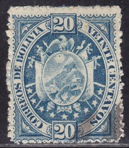 Bolivia 44 USED 1894 Coat of Arms 9 Stars 20c