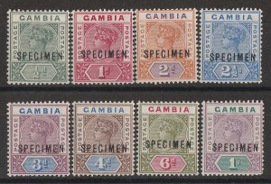 GAMBIA : 1898 QV Key type set ½d to 1/-, SPECIMEN. MNH **.