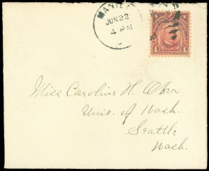 JUN 22, 1910 Manila Philippines Cds, Greeting Card Cover to Seattle WA, SC #242!