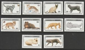 DOMINICA #875-84 MINT NEVER HINGED COMPLETE CATS