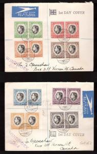 SWA, 1937 Coronation set in blocks of four on two fdc to Canada    -BM79