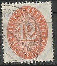 GERMANY, 1932, used 12pf, Numeral Scott O72