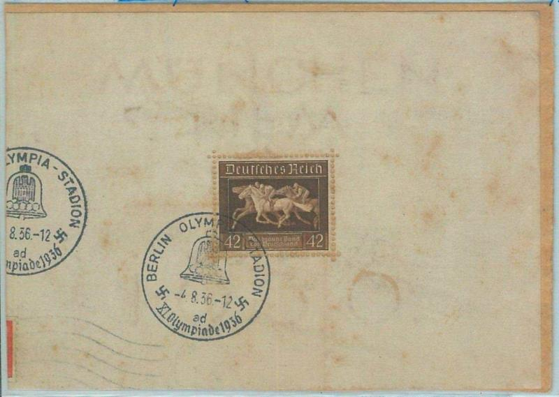 68127 - GERMANY - BLOCK on part if COVER - 1936 Olympic postmark: BERLIN ad