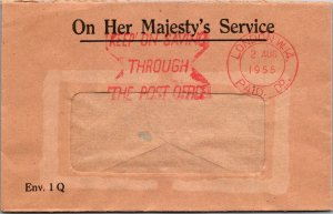 London UK window envelope 1955 KEEP ON SAVING cancel On Her Majesty's Service