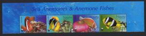 Nauru WWF Anemonefish Top Strip of 4v with Name SG#566-569 MI#553-556 SC#514-517