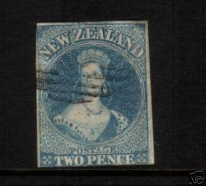 NEW ZEALAND FFQ 1858 2d  BLUE IMPERF FU NO WMK SG9 CHALON