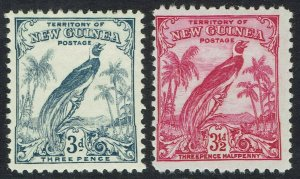 NEW GUINEA 1932 UNDATED BIRD 3D AND 31/2D